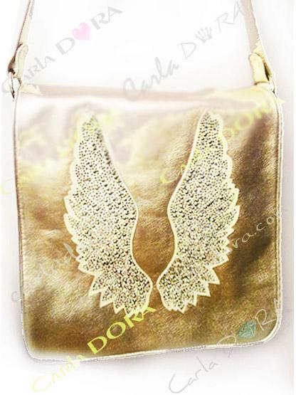 sac bandouliere femme or clair avec ailes d
