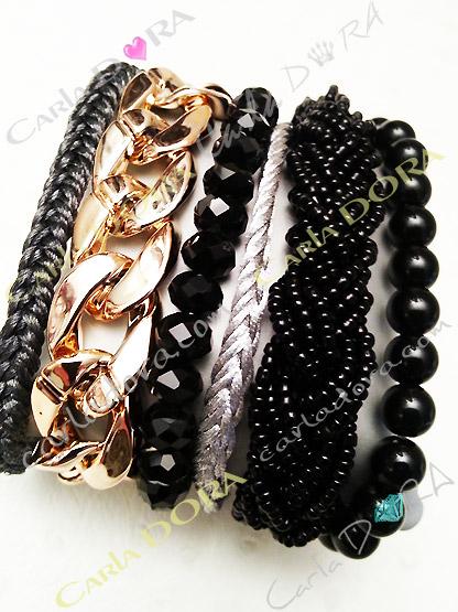 bracelet multi rangs aimante chaine dore perles noires, mode bracelets bijoux plusieurs rangs tendance fermeture aimante