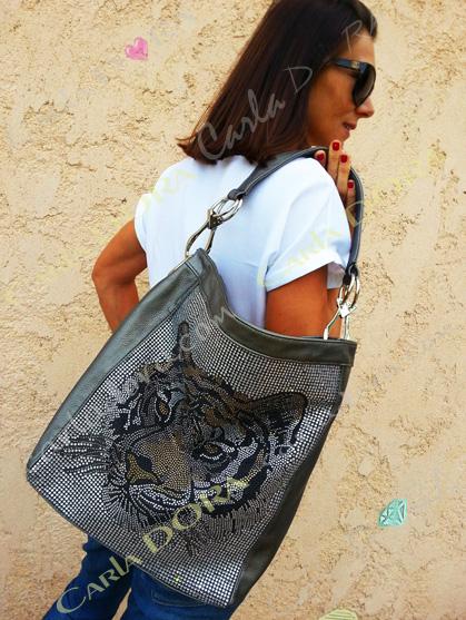 sac femme bandouliere tete tigre strass argent bronze et noir