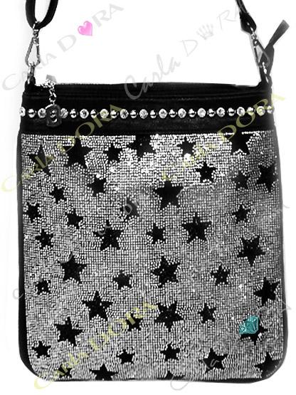 sac a main petites etoiles noires strasse et cloute argent tendance, sac main etoile strass