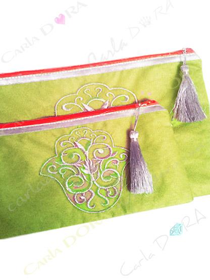 pochette femme grande pochette main de fatma vert anis brodee argent zip orange fluo grand format