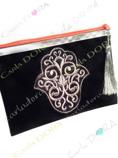 pochette femme grande pochette main de fatma noire brodee argent zip orange fluo grand format