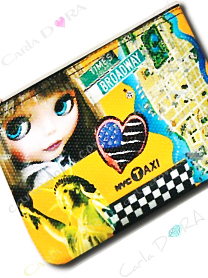 trousse plate poupee drapeau americain en coeur taxi jaune new york city, pochette ultra tendance girly