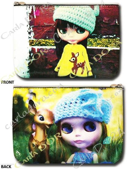 trousse plate poupee tendance faon, pochette poupee fashion bonnet bambi
