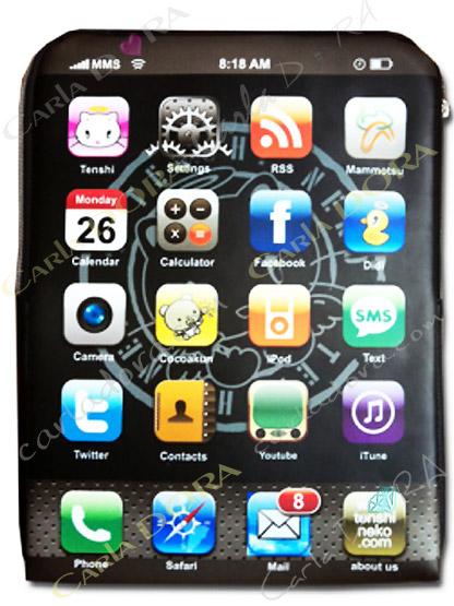 pochette tablette impression ecran touches smartphone, etui de protection pour tablette samsung galaxy tab