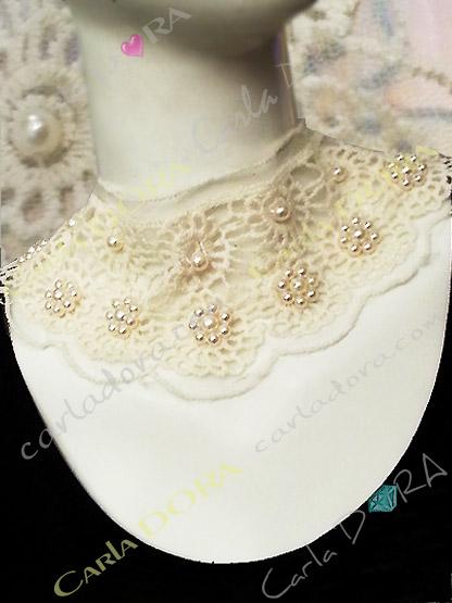 collier col de soiree ajoure dentelle et perles de culture, collier fantaisie femme mode tissu