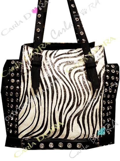 sac main femme en poulain motif sac zebre noir et blanc strass et cloute argent