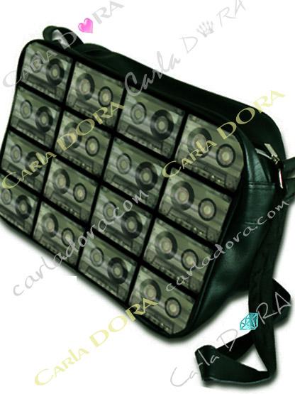 sac bandouliere cassette audio k7, sac bandouliere vintage cassette audio