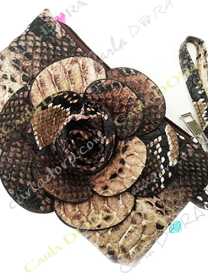 pochette fleur femme python