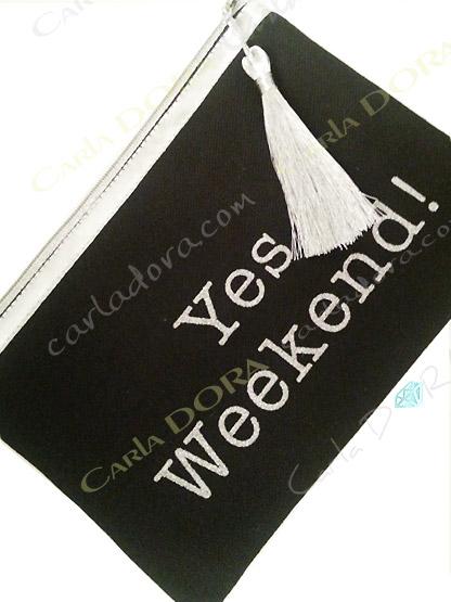 pochette tissu message brode tendance noir et argent, pochette pour offrir a la mode