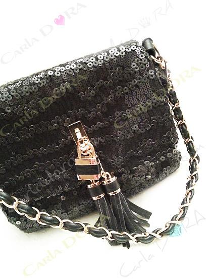 sac de soiree tendance a sequins noirs mats avec pompons chaine doree, petit sac de soiree fermeture aimantee