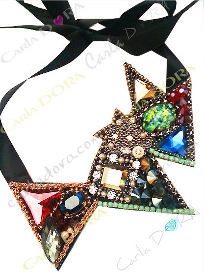 collier fantaisie original de soiree strass multicolore, bijou fantaisie femme mode