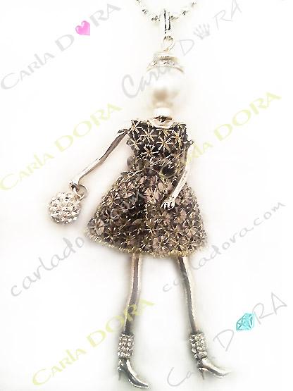 collier fantaisie charms poupee sautoir fashion robe cocktail paillettes argent et strass, bijou fantaisie sautoir femme