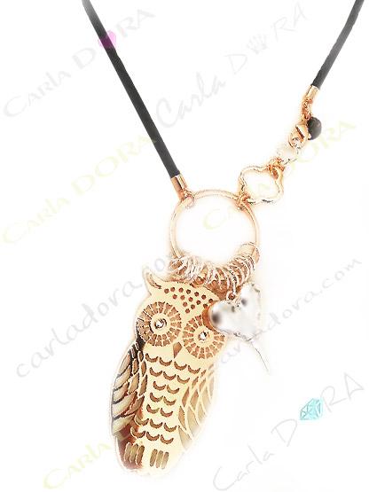 collier fantaisie sautoir hibou cisele metal dore coeur argent et strass pour les yeux
