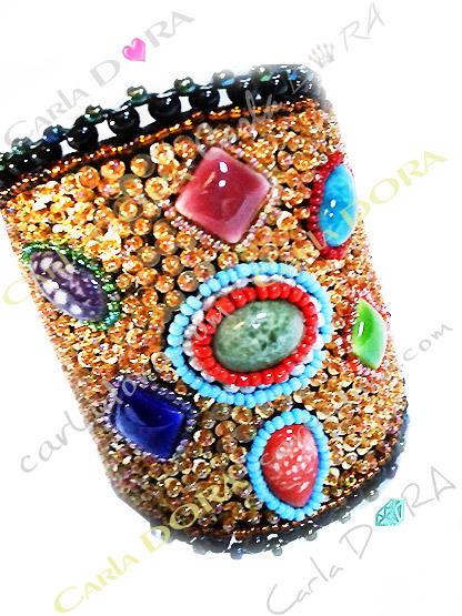 bracelet manchette hippie chic mordore turquoise, bracelet ethnique perles de rocaille paillettes et pierres