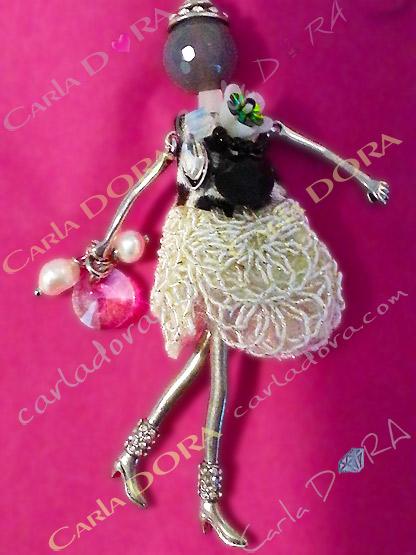 collier figurine fille fantaisie bijou sautoir  charm femme sautoir pendentif fashion robe mariage