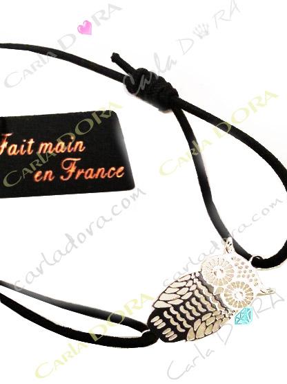 bracelet hibou cisele argent porte-bonheur, bracelet chouette ciselee
