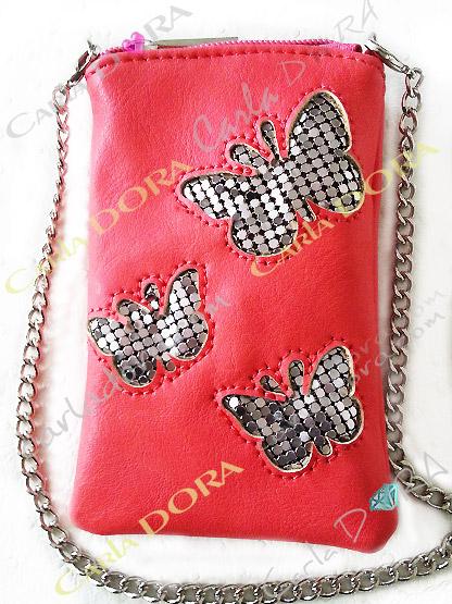 pochette pour telephone portable papillon corail cotte de maille argent