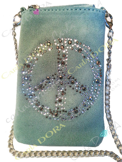 pochette telephone portable peace and love strass daim turquoise clair vert d