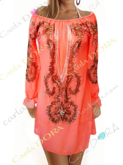 robe tunique femme tendance corail broderies et paillettes, tunique robe femme originale