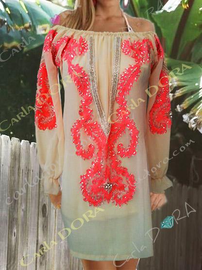 robe tunique femme tendance broderies fluo et paillettes, tunique robe femme originale