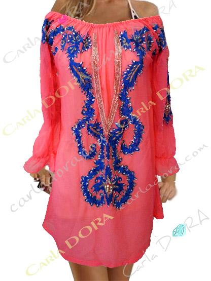 robe tunique femme tendance rose broderies et paillettes bleu dur, tunique robe femme originale