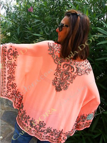 tunique femme tendance corail fluo clair broderies et paillettes, top tunique femme fluo
