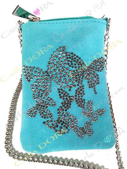 etui daim pour telephone portable turquoise papillon en strass argent et dore