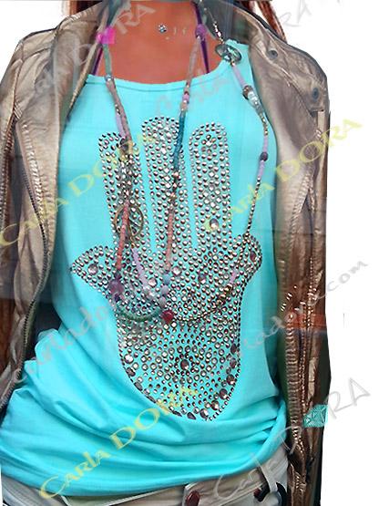 t-shirt femme glamour bleu turquoise main de fatma strass et clous, top t-shirt motif main de fatma mode femme tendance