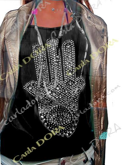 top femme glamour noir main de fatma strass et clous, top t-shirt motif main de fatma mode femme tendance
