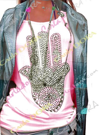 top femme glamour rose pale main de fatma strass et clous, top t-shirt motif main de fatma mode femme tendance
