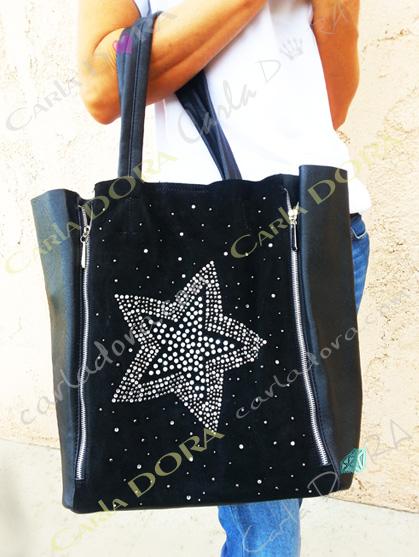 sac etoile porte epaule noir pour shopping sac a main avec etoile en strass et perles de culture