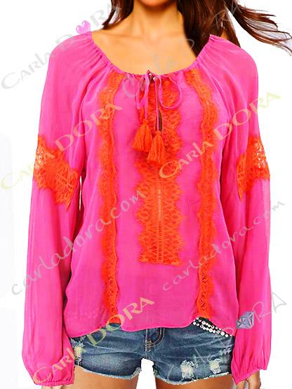 tunique hippie chic tendance rose dentelle orange, tunique fashion ibiza saint-tropez