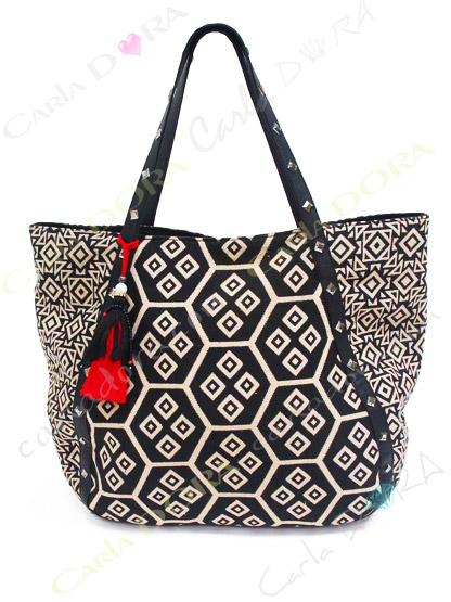 sac cabas shopping noir et blanc cloute tissu jacquard porte epaule noir pour shopping sac a main porte main