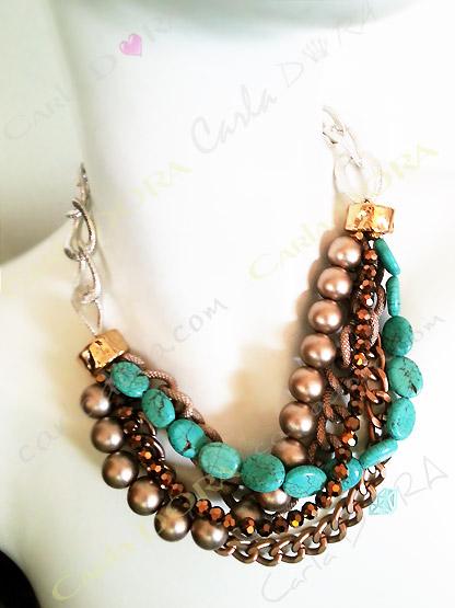 collier fantaisie femme multirangs chaines et perles turquoise marron glace et argent