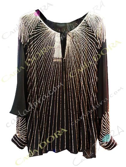 tunique de soiree femme elegante noire argent 65cm, tunique en voile perles brodees