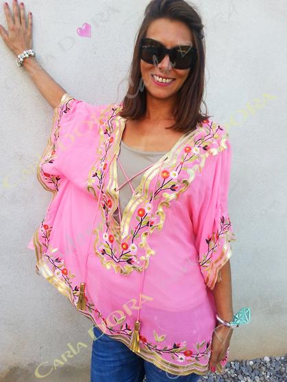 tunique caftan tendance rose, tunique soiree fashion ibiza saint-tropez