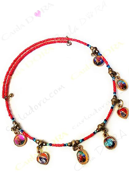 collier ras du cou pampilles divinites indiennes, collier indien bollywood