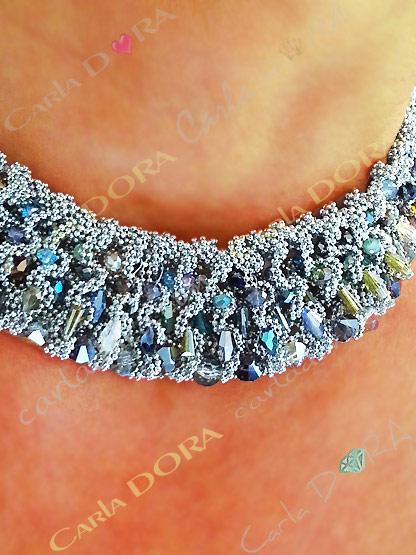 collier ras du cou perles cristal multicolores et chaine argent - bijou reversible femme elegant et chic