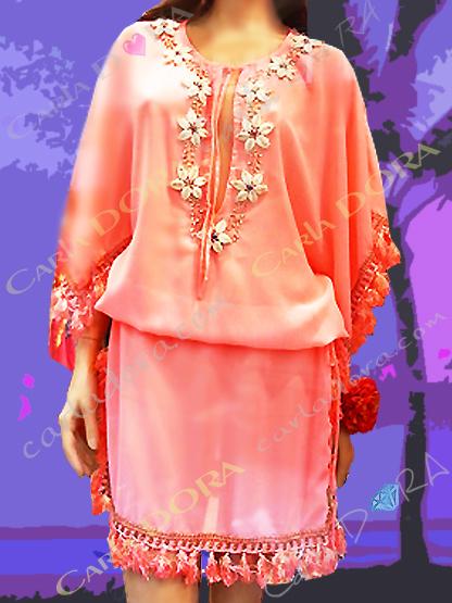 robe tunique femme corail broderies et coquillages, tunique robe femme originale