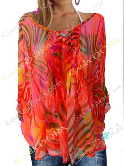 tunique femme voile transapent corail motif palmier flamboyant, top femme tunique plage a la mode