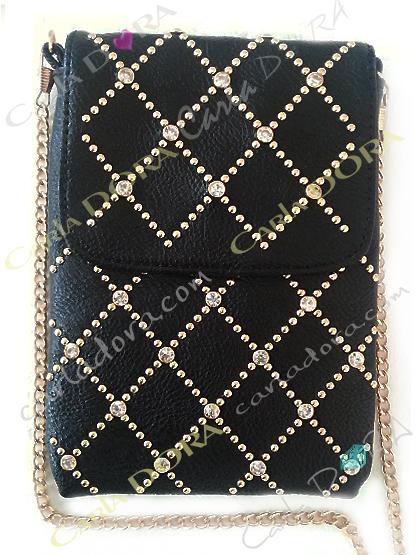 pochette telephone smartphone grand format portable noir et strass, pochette telephone noire