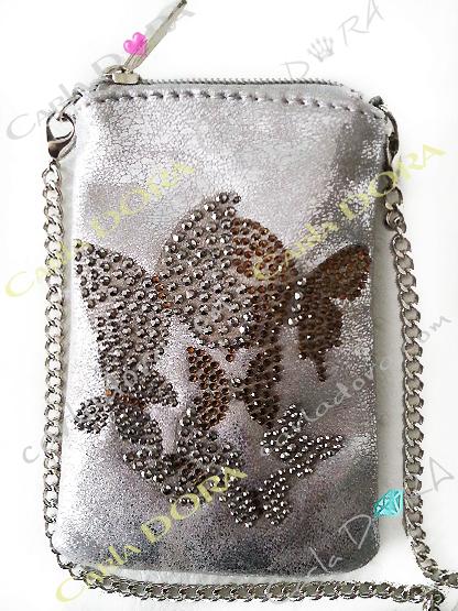 pochette telephone portable argent metalise vieilli craquele papillon en strass argent et dore