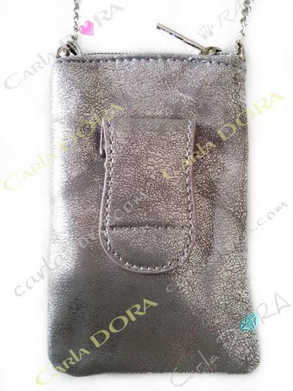 pochette telephone portable tissage argent et pastel metalises