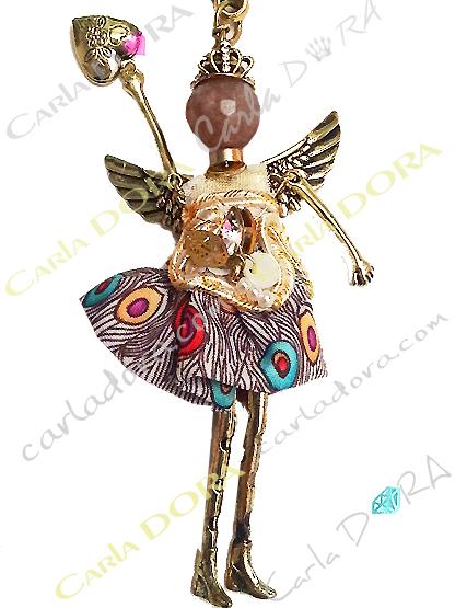sautoir collier fantaisie poupee ailes d