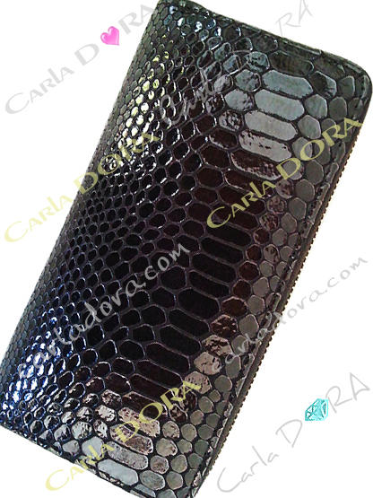 portefeuille glossy python noir, portefeuille glossy serpent et glamour