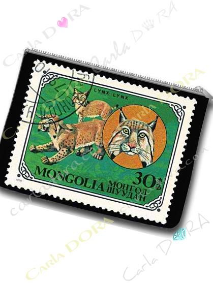pochette imprime lynx timbre vintage mongolie trousse plate timbre exotique animaux lynx