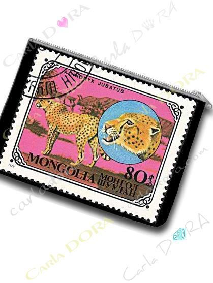 trousse plate guepard pochette plate timbre exotique animaux guepard