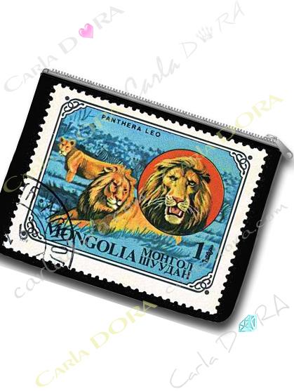 pochette plate timbre ancien de mongolie lion trousse animaux lion sur timbre vintage
