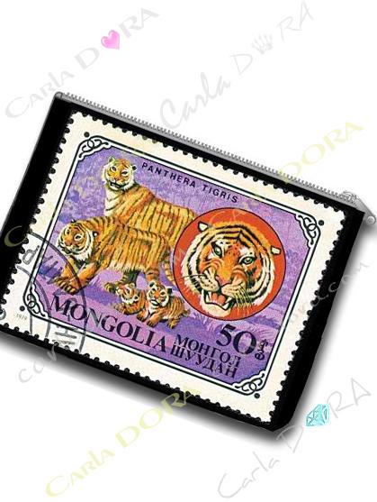 pochette femme imprime tigre timbre vintage   trousse plate animaux tigre timbre exotique